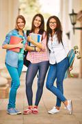 Modern college girls - stock photo