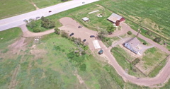 Aerial view of Parker Road in Parke Stock Footage
