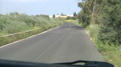 POV driving on empty country road, Sicily, Europe. Stock Footage