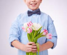 Tulips for mom - stock photo