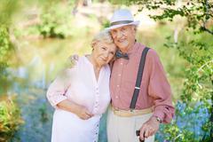 Amorous seniors - stock photo