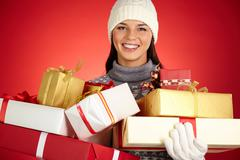 Girl with packages - stock photo