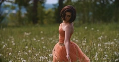 Beauty Girl Outdoors enjoying nature. Stock Footage