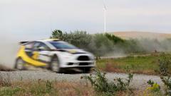 Danube Delta Rally special trial windfarm - stock footage