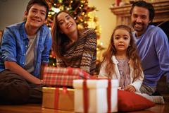 Family on Christmas eve - stock photo