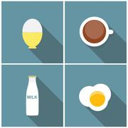 Scrambled Egg, Soft-Boiled Egg, Milk, Coffee Icon Set Vector Ill - stock illustration