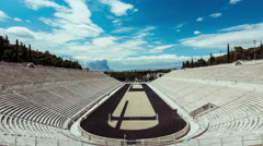 4K  Panathenaic Stadium Athens,wide timelapse overview,blue sky and clouds Stock Footage