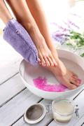 Foot scrub, pedicure - stock photo