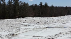 ST. CROIX RIVER ICE OUT SPRING FLOOD Stock Footage