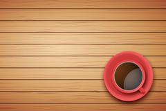 Red Cup of coffee or tea on the table dark wood Stock Illustration