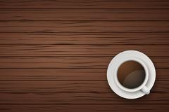 Cup of coffee or tea on the table dark wood Stock Illustration