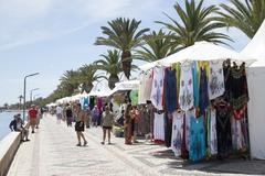 Market on the boardwalk in Lagos southern Portugal Stock Photos
