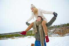 Cheerful winter date Stock Photos