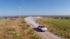 Danube Delta Rally special trial windfarm Stock Footage