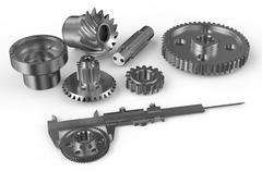 Vernier caliper with steel gearwheels Stock Illustration