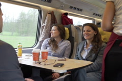 Businesspeople riding in train on delegation, steadycam shot Stock Footage