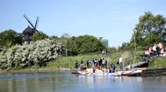 Group canoeing, gallium ride windmill 02 Stock Footage