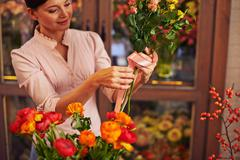 Making rose bunch Stock Photos