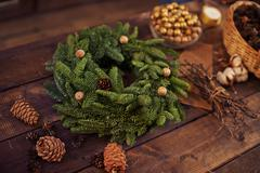 Coniferous wreath - stock photo