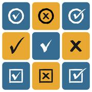 Vector Set of hand drawn Check Marks Icons - stock illustration