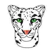 Wild cat, irbis, leopard, snow bars in vector Stock Illustration