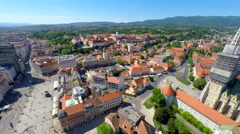 Aerial view of central Zagreb with Zagreb's cathedral and Ban Jelačić's square. Stock Footage
