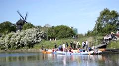 Group canoeing, gallium ride windmill 01 Stock Footage