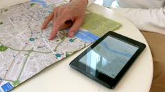 4K Tourist man planning day trip with Tablet in Hotel room (Model Released) Arkistovideo