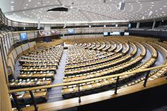 Plenary Chamber at the European Parliament - stock photo