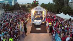 Danube Delta Rally festive start and cars parade Stock Footage