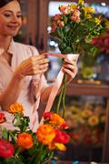 Making bouquet for sale Stock Photos