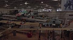 Hill AFB Utah historic aircraft display inside pan 4K Stock Footage