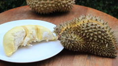 Serving Delicious Thai Durian Fruit HD Stock Footage