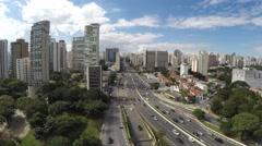 Aerial View of Obelisk and Ibirapuera Park of Sao Paulo, Brazil Stock Footage