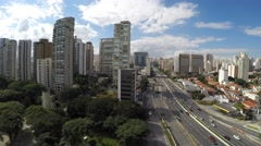Aerial View of Sao Paulo skyline, Brazil Stock Footage