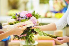 Message for the bouquet Stock Photos