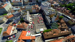 Aerial view of central Zagreb, with Dolac market. Stock Footage