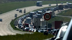 4K Heavy Busy Traffic Jam in German Autobahn Motorway Highway Freeway Germany Arkistovideo