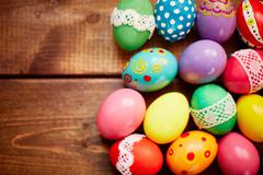 Assortment of Easter eggs Stock Photos