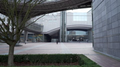 Main gate at the European Parliament Stock Footage