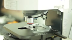 Laboratory equipment. Biological Microscope. Lens - stock footage