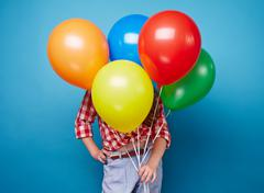 Girls with balloons - stock photo