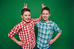 Funny twins - stock photo