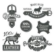 Set of vector vintage belt logo designs, retro quality labels. genuine leather - stock illustration