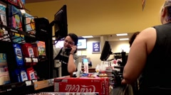 One side of check out counter inside Safeway store Stock Footage