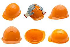 Set of 6 different views of helmets - stock photo