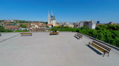 View on central Zagreb and cathedral from a patio. Stock Footage