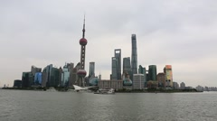 Skyscrapers seen from the bund in Shanghai,China Stock Footage