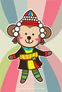 Stock Illustration of baby card with cute monkey clothes karen