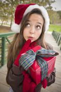 Pretty Woman Wearing a Santa Hat with Wrapped Gift - stock photo